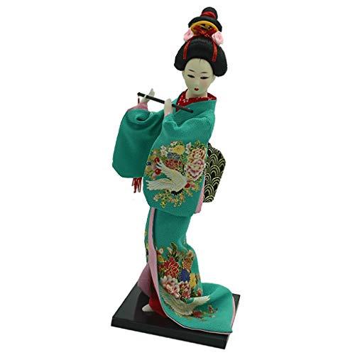 LBYLYH Zuhause Dekoration Geschenk Traditionelle japanische stehende Geisha-Puppe Modell Kimono-Puppe Vintage-Dekor-Puppe mit grüner Kleidung und Flöte