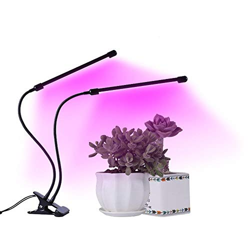 S-vision 2 Heads Clip LED Grow Light- 20W 40LEDs Plant Light With USB Cable Full Spectrum Grow Lamp With Red/blue/pink 3 Dimming Options-for Indoor Plants A