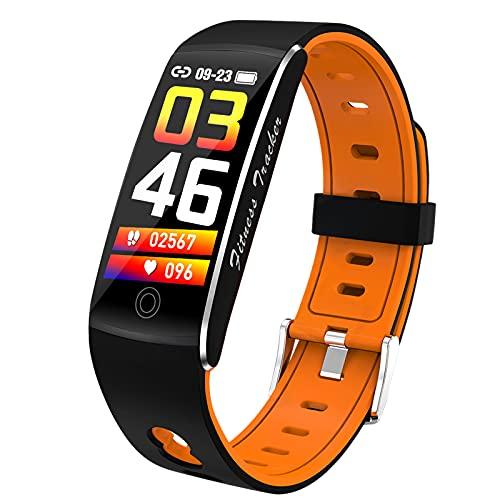 QFSLR Smartwatch,Relojes Inteligentes con Monitoreo De Temperatura De Reloj Inteligente Monitor De Frecuencia Cardíaca Monitor De Presión Arterial Monitoreo De Oxígeno En Sangre,Naranja