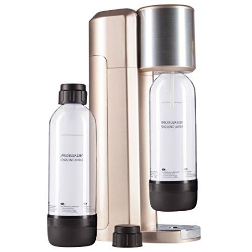 Levivo Wassersprudler Set / Trinkwassersprudler Starter Set inkl. 2 Sprudlerflaschen aus PET, klassischer Sodabereiter für individuelles Zusetzen von Kohlensäure in Leitungswasser, Rosegold