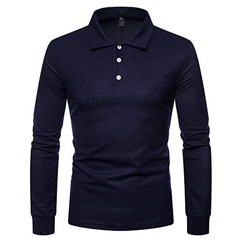SALEBLOUSE Herren Lässig Einfarbig Mit Knöpfen Revers Shirt Langarm Baumwollhemd...