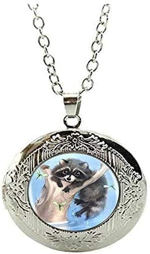 Raccoon Logo Locket Necklace Handmade Vintage Jewelry Charm Jewelry Art Picture Jewelry