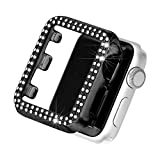 Secbolt Bling Case Compatible with Apple Watch 42mm, Full Cover Bumper Screen Protector for iWatch Series 3 2 1 (Black-42mm)