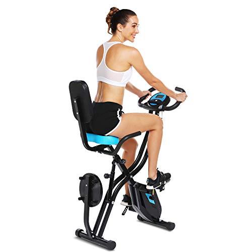 ANCHEER F-Bike mit APP-Steuerung, Faltbarem X-Bike, Fitness-Bike, mit 10-stufigem einstellbarem Magnetwiderstand und bequemem Sitz
