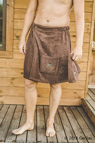 Paréo de Sauna pour Homme avec Fermeture Velcro Serviette de Sauna 100% Coton 55 x 150 cm