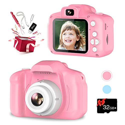 VINMEN Upgrade Kids Camera, Selfie Camera for Kids, Best Birthday Gifts for Girls Age 3-12, 1080P HD Digital Video Cameras for Toddler, Toys for 3 4 5 6 7 8 9 Year Old Girl with 32GB SD Card (Pink)