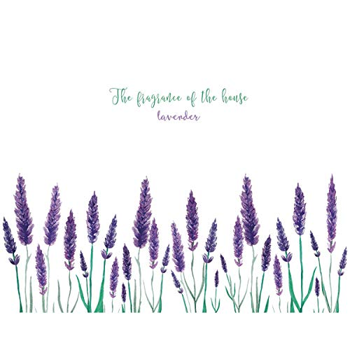Amaonm Removable Creative Purple Lavender Wall Decal DIY Flower Fresh Grass with Lettering Wall Stickers Peel and Stick Art Decor for Kids Girls Bedroom Living Room Bathroom Nursery (Lavender)