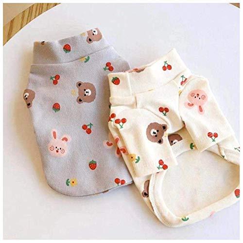 CMTTOME 2 x Haustier-Kleidung, Sommer-T-Shirt, Kirschbär, atmungsaktiv, weich, Weste für kleine und mittelgroße Hunde, Schnauzer, Pomeranian (XS, weiß + grau)