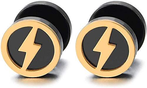 NC188 Pendientes de botón de círculo de Perno de relámpago de Oro Negro de Acero para Hombres Mujeres Tapones para los oídos Falsos medidores