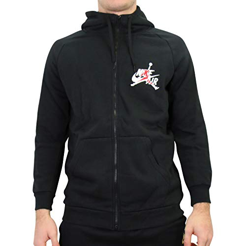 Nike M J Jumpman Classic FZ Long Sleeve Top für Herren M Schwarz/Gym-rot/Weiß