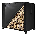 IPHUNGO Firewood Log Rack Cover, 600D Oxford Heavy Duty Outdoor Waterproof All-Weather Outdoor Protection Cover for Firewood Rack (48' 24' 42',4Ft,Black)