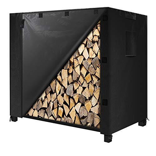 """IPHUNGO Firewood Log Rack Cover, 600D Oxford Heavy Duty Outdoor Waterproof All-Weather Outdoor Protection Cover for Firewood Rack (48"""" 24"""" 42"""",4Ft,Black)"""