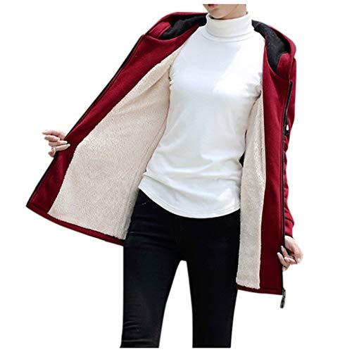 Xmiral Jacke Damen Einfarbig Kurz Plüsch Kapuzenjacke Winter Warm Reißverschluss Mantel Motorradjacke Steppjacke Langarm Sweatshirts Sweatjacke(a Rot,S)