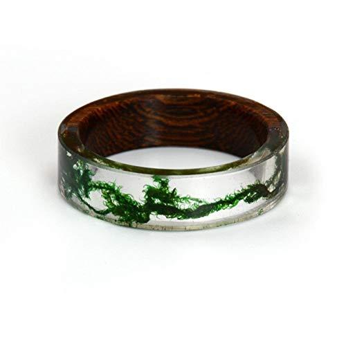 HappyL Ringe for Frauen Männer Holz Harz Landschaft Ring Transparente Männliche Natürliche Landschaft Epoxidharz Ringe Weibliche Finger Punk (Color : with Wood, Size : 8.5)