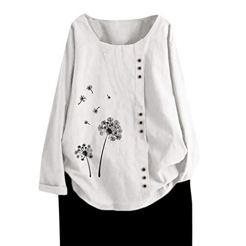 Top Homie レディース Tシャツ シンプル 花柄 ゆったり 綿麻 トップス 大きいサ…の画像