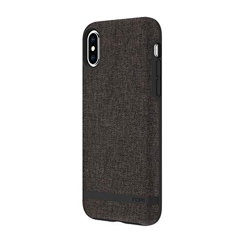 Incipio [Esquire Series] Carnaby Schutzhülle für Apple iPhone Xs / X - grau [Oberfläche aus Baumwolle I Robuste Hartschale I Edle Optik I Hybrid I Qi kompatibel] - IPH-1783-GRY