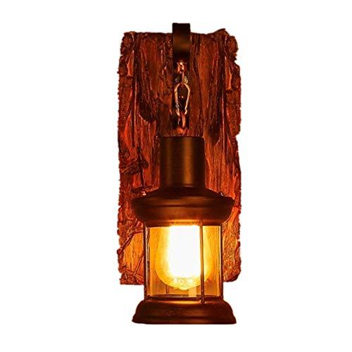 Kinine&Aplique industrial retro Aplique de pared de madera vintage,GWMMNZ lámpara de pared de metal y vidrio vintage Lámpara de pared con zócalo E27 Lámpara de madera y pared rústica Lámpara de pared