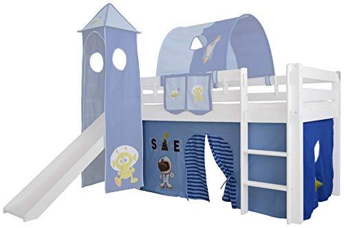 Mobi Furniture 3tlg. Vorhang Set Höhle Space für Hochbett Spielbett Vorhänge Kinderbett