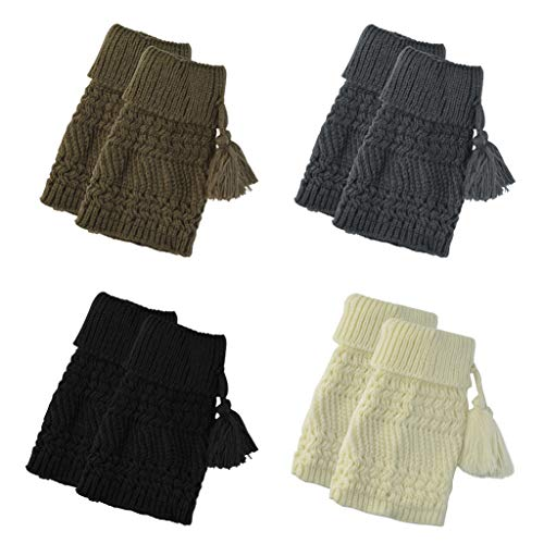 Topbuti 4 Pairs Crochet Knitted Boot Cuffs Toppers Women Short Boots Socks Cable Knit Winter Leg Warmer Sock with Tassel