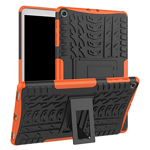 YUNCHAO Cubierta a Prueba de Golpes TPU PC con Textura de neumáticos para Galaxy Tab A 10.1 2019 T510 / T515, con Soporte (Color : Naranja)