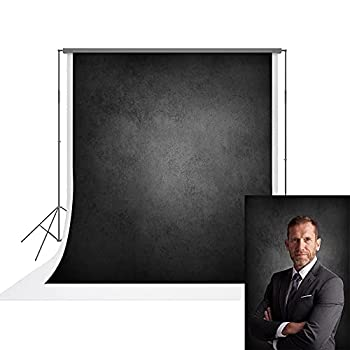 UrcTepics 5x7ft Pro Microfiber Abstract Black Background for Photography Headshot Backdrop Portraits Photography Backdrops Black Gray Photo Backdrops for Photography Black Photo Backdrop Cloth