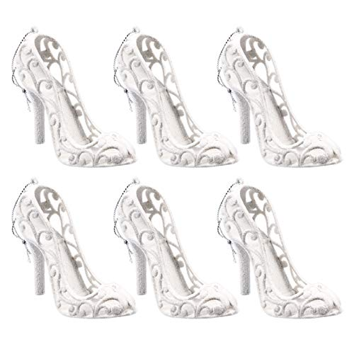 NUOBESTY Cinderella High Heels For Christmas Hanging Ornament,White High Heels Christmas Decorations For Home New Year Pendant,Crystal High Heels Shoes for Girls Birthday Gift 6pcs