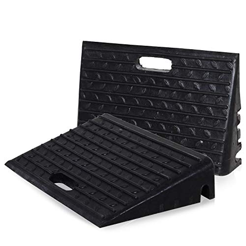 HOMCOM Set of 2 Rubber Kerb Ramps for Car Caravan Trailer Wheelchair Disabled Accessory Mobility...