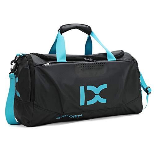 BAIGIO Borsone Palestra Borsa Sportiva con Scomparto per Scarpe Borsone per la Piscina Borsa da Viaggio Duffel Bag Uomo Tote Grande Impermeable (Blu)