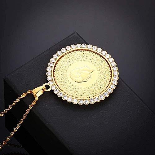 Yiffshunl Collar de Mujer, Collar de declaración de Allah islámico para Hombre, Tono Dorado, musulmán, Allah, Estilo árabe, joyería de Oriente Medio con Diamantes de imitación