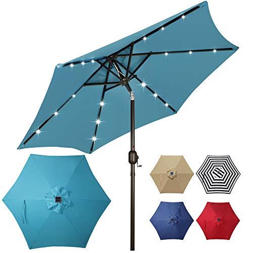 Blissun 7.5 ft Solar Umbrella 18 LED Lighted Patio Umbrella with Tilt and Crank