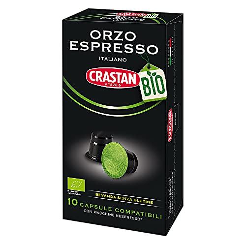 Crastan Capsule Compatibili Nespresso - Orzo Biologico - 8 confezioni da 10 capsule [tot. 80 capsule]