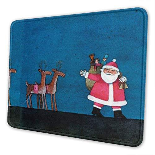 Moderne Weihnachten Frohe Weihnachten Weihnachtsmann Rentier auf dem Dach Thema Kunst Mauspad Naturkautschuk Mauspad W / Druck der Grenze 10x12 Zoll