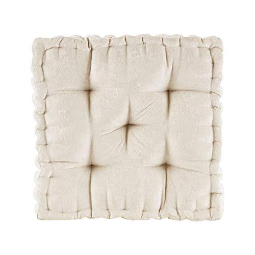 Intelligent Design Azza Floor Pillow Square Pouf Chenille Tufted