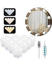 Azhien Spiegellamp met 10 Dimbare LED-lampen,Make-up Spiegellampen in Hollywood-stijl met 3 kleurmodi en 10 helderheid voor make-up en dressing spiegel(USB-kabel,geen spiegel en geen adapter)