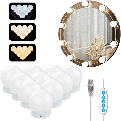 Lampe Miroir Maquillage Azhien,Lampe pour Miroir Cosmetique Hollywood avec 5 Modes de Couleur et 10 Ampoules Lumieres de Dimmable pour Miroir de Maquillage et Coiffeuse