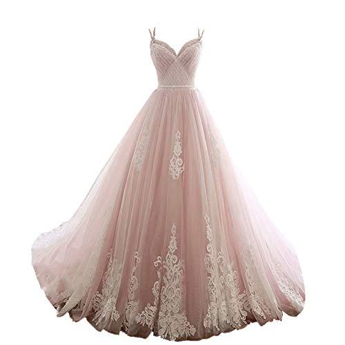 Fankeshi Damen Spaghettiträger, A-Linie, Hochzeitskleid, Spitzen-Applikation, Brautschmuck, Ballkleider - Pink - 34