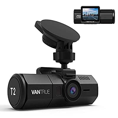 Vantrue T2 24/7 Recording Dash Cam Super Capacitor Microwave Parking Mode Car Camera 1920x1080P 2 Inch LCD 160 Degree Dashboard Camera, Sony Night Vision, OBD Cable, Heat Resistant, Support 256GB Max