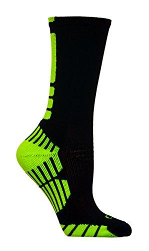 CSI Vertical Performance Crew Socks Made In The USA Black/Neon Yellow