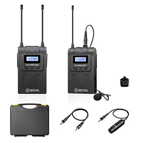 Sistema de micrófono inalámbrico Lavalier de doble canal actualizado de BOYA con 1 transmisor de petaca y 1 receptor portátil para cámara Canon Nikon Sony DSLR, videocámara XLR, teléfono, YouTube