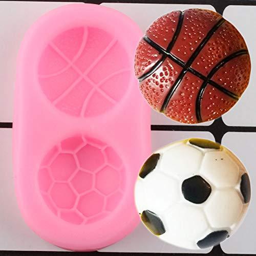 JACKWS Fútbol Baloncesto Moldes De Silicona Molde De Caramelo De Chocolate DIY Cupcake Topper Fondant Herramientas De Decoración De Pasteles Molde De Arcilla Polimérica