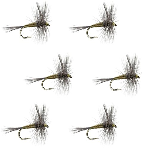 The Fly Fishing Place Blue Winged Olive BWO Classic Trout Dry Fly Fishing Flies - Set of 6 Flies Size 14