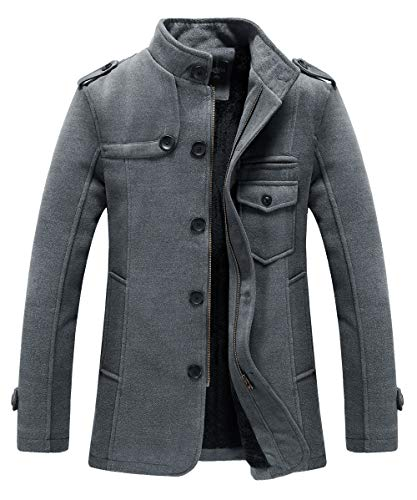 RongYue Men's Winter Thicken Pea Coat Wool Blend Single Breasted Military Peacoat Jacket(Large, Gray-8890)