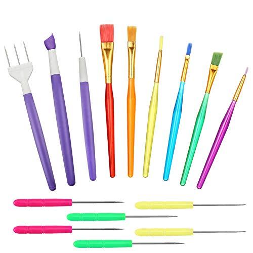 Herramientas de modelado de fondant,15 piezas de herramientas de decoración de pasteles, brochas de decoración de galletas, herramientas de glaseado y modelado, herramientas de escultura Sugarcraft