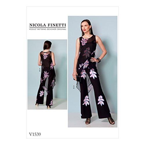 Vogue patroon chiffon patroon tuniek en overall, meerkleurig, maten 6-14