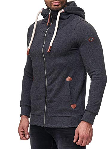Red Bridge Herren Sweatjacke Basic Sweat Pullover Kapuzen-Sweater Dicke Kordel M2143 Dunkelgrau S