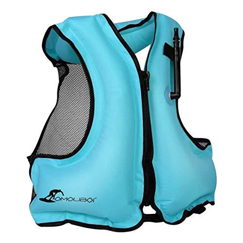 OMOUBOI Aufblasbare Schwimmweste Tragbare Schnorcheln Schwimmanzug Schwimmhilfe Schwimmwesten für Wassersport Kajak   Erwachsene   Männer   Frauen (Blau)