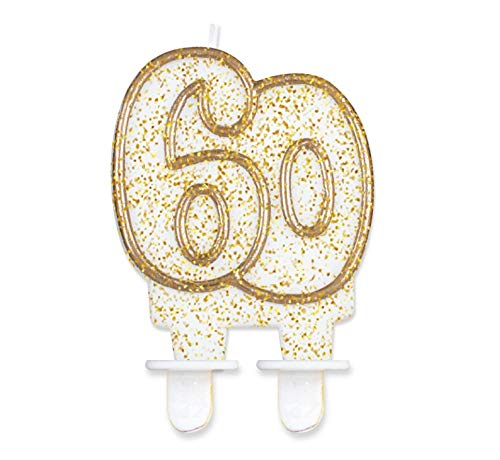 Glitzer Zahlenkerze für Geburtstag Hochzeit Events Jubiläum Torte Cupcake Muffins & Kuchen (60. Geburtstag)