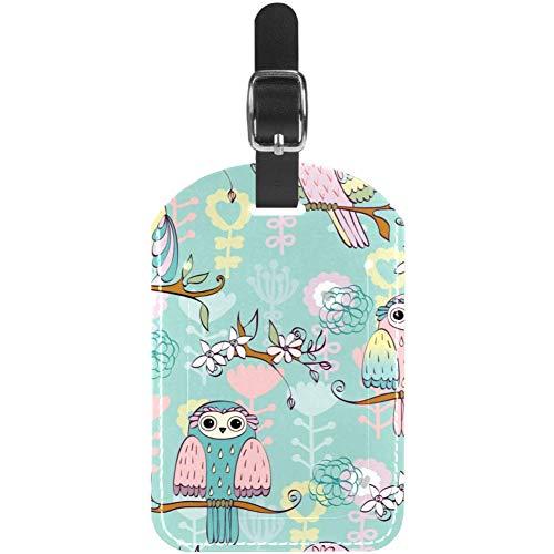 Unknown Etiquetas para equipaje con ilustración con búho sentado en ramas, de cuero, para maleta...