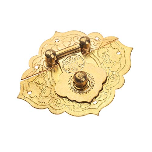 Antique Gold Box Hasp Latches Chinese Old Lock Catch for Jewelry Suitcase Buckle Clip Clasp Furniture Hardware 54 * 46mm
