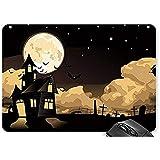 Mauspad Halloween Mond Fledermäuse Lichtpunkte Grabsteine Häuser Mauspad Spiel Mauspad 25X30Cm
